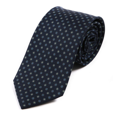 Navy Blue Macclesfield Silk Tie
