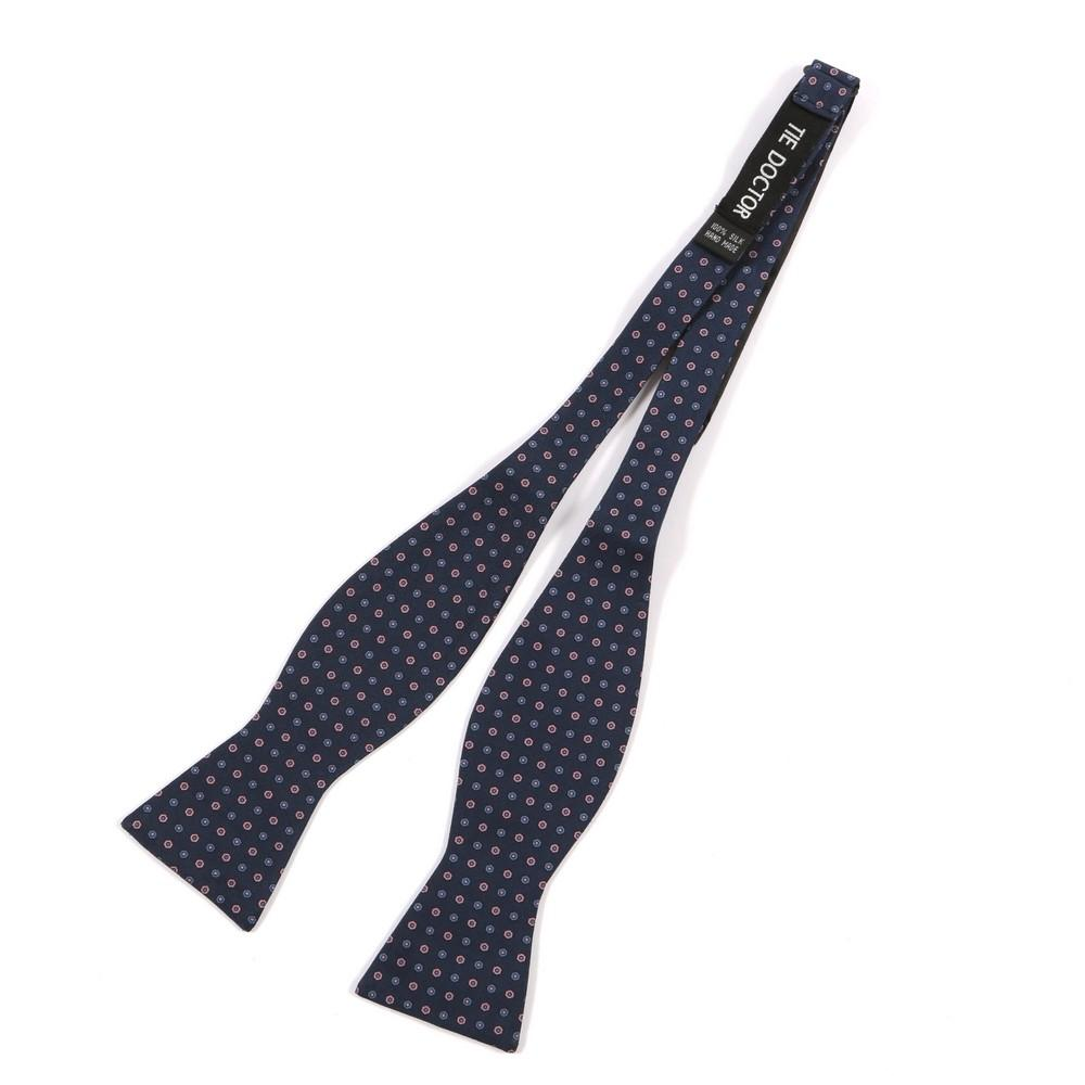 Best seller Navy & Pink Micro Circle Bow Tie - Handmade Silk Wool And Knitted Ties by Tie Doctor