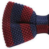 Red & Navy Military Knitted Bow Tie - Handmade Limited Edition Ties by Tie Doctor