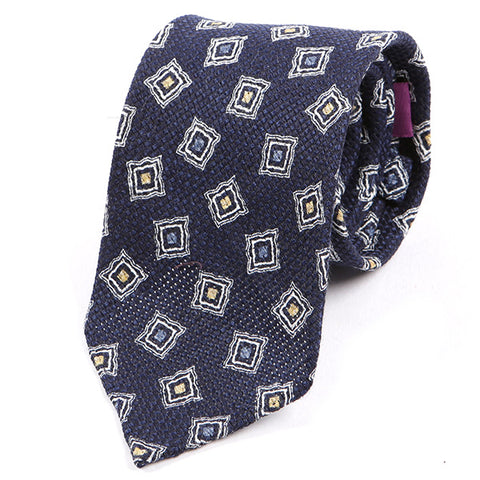 Navy & Yellow Cubed Silk and Wool Ties
