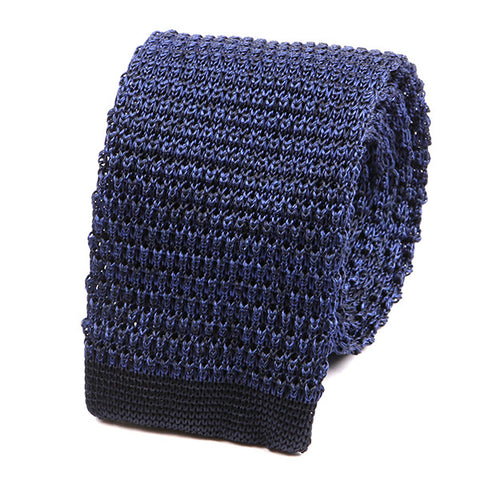 Blue Marl Silk Knitted Tie - Handmade Silk Wool And Knitted Ties by Tie Doctor