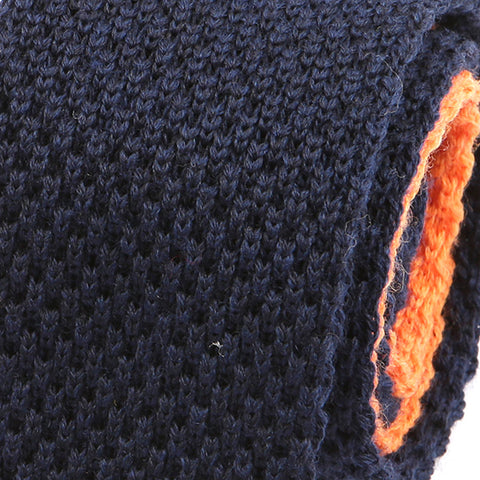 NAVY WOOL TIE ORANGE TIP