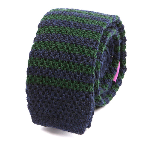 Green and Navy Wool Striped Knitted Tie - Handmade Silk Wool And Knitted Ties by Tie Doctor