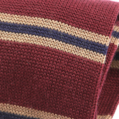 Burgundy Wool Striped Knit Tie