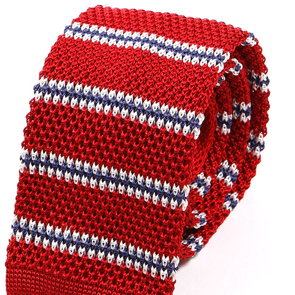 Red Stripe Silk Knitted Tie