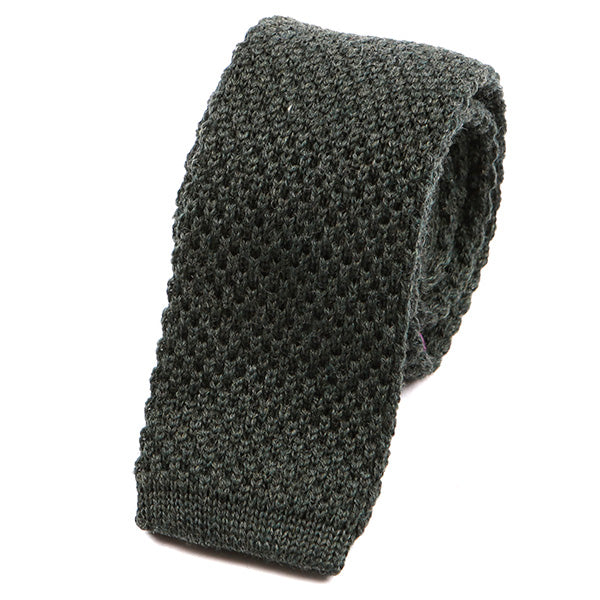 Army Green Knitted Wool Tie