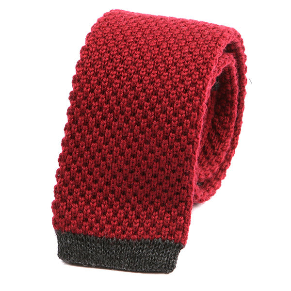 Red and Grey Wool Knit Tie - Handmade Limited Edition Ties by Tie Doctor