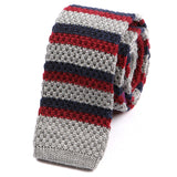 Grey And Red Striped Knitted Wool Tie