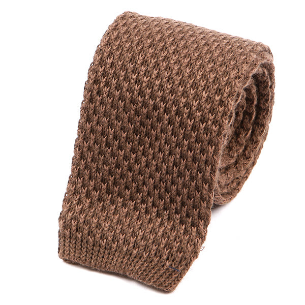 Brown Wool Knitted Tie