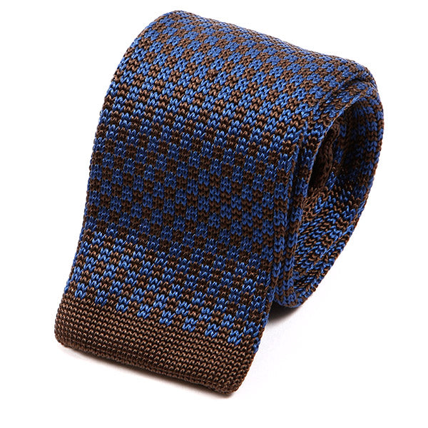 Brooks Blue & Brown Silk Knitted Tie