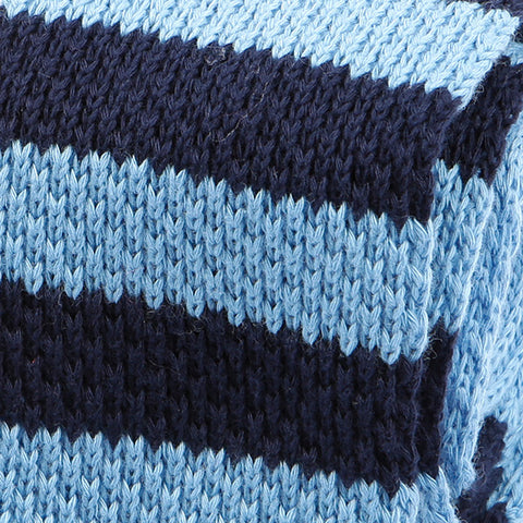 Blue Striped Wool Knitted Tie