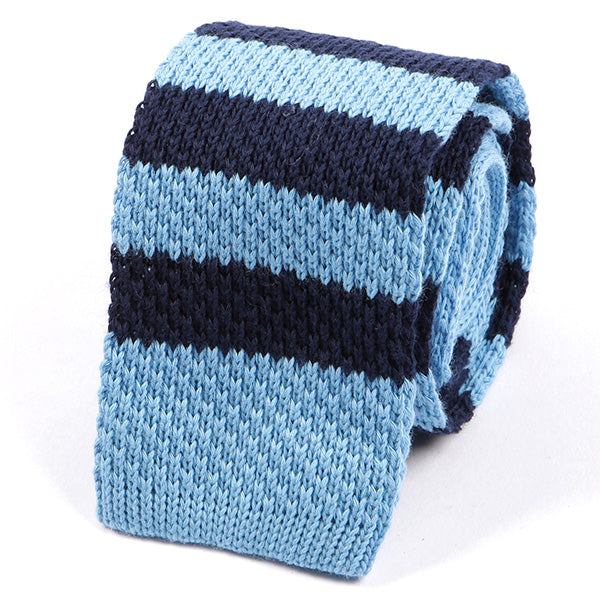 Blue Striped Knitted Wool Tie