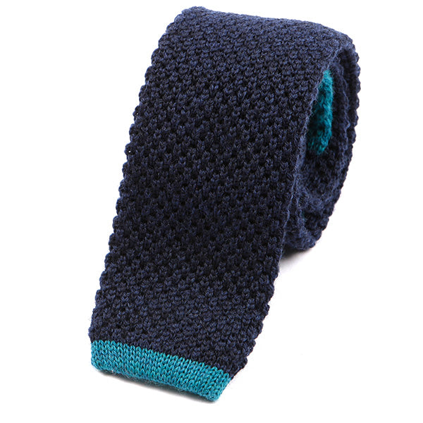Navy Wool Tie Blue Tip