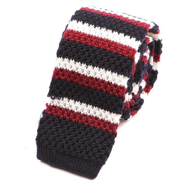 Black Wool Striped Knitted Tie