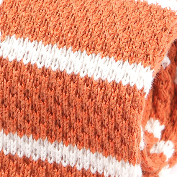 Orange Striped Knitted Wool Tie