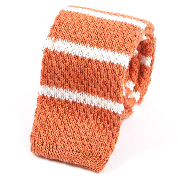 Orange Striped Wool Knitted Tie