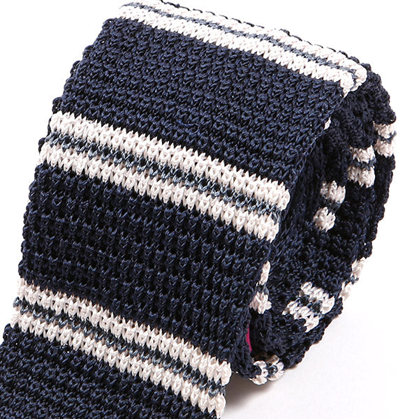 Blue Striped IV Silk Knitted Tie