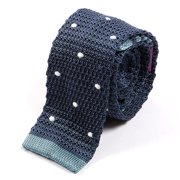 Steel Blue Tipped Polka Silk Knitted Tie
