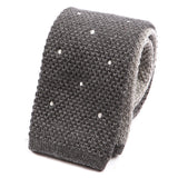 Grey Polka Dot Double Side Knit Wool Tie