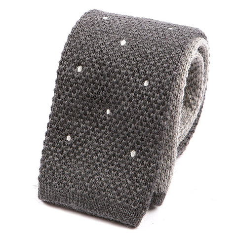 Grey Polka Dot Double Side Knit Tie