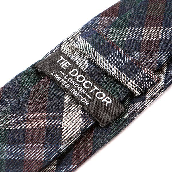 Blue Bold Check Silk + Wool Tie