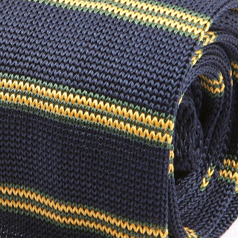 Navy & Yellow Silk Striped Knitted Tie