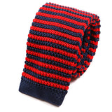 Navy and Red Striped Silk Knitted Tie