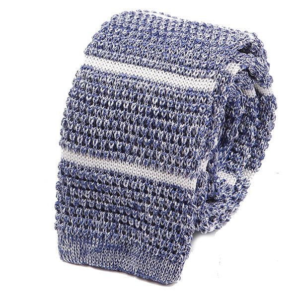 Light Blue Striped Granite Silk Knitted Tie