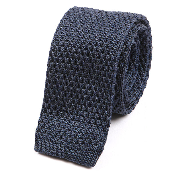 Oxford Blue Plain Silk Knitted Tie