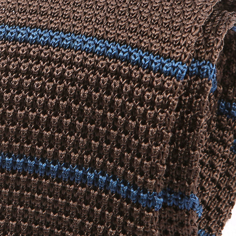 Brown & Blue Silk Striped Knitted Tie