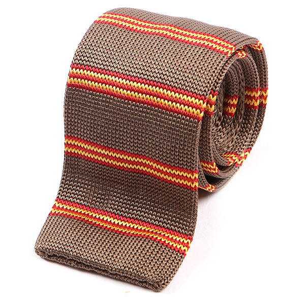Tawny Striped Silk Knitted Tie