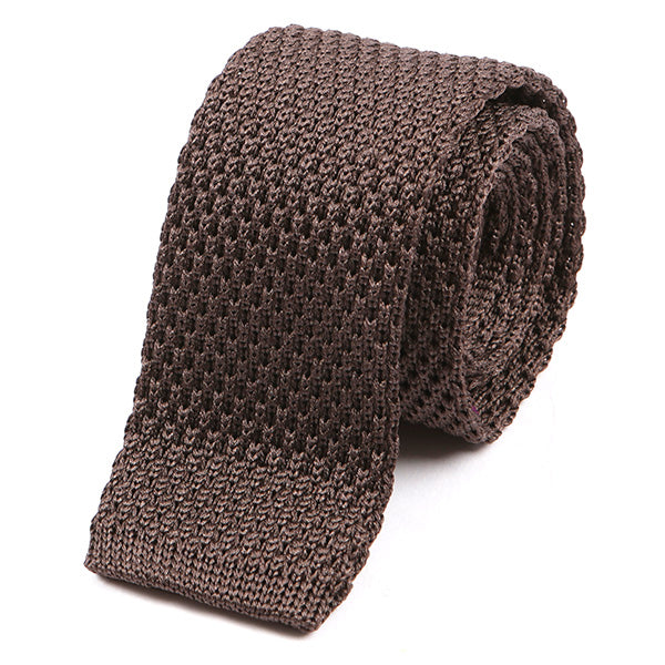Walnut Brown Silk Knitted Tie