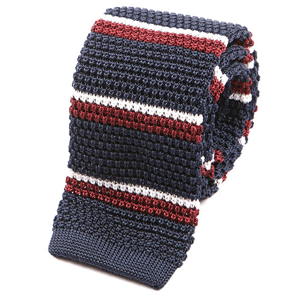 Navy & Burgundy Striped Silk Knitted Tie