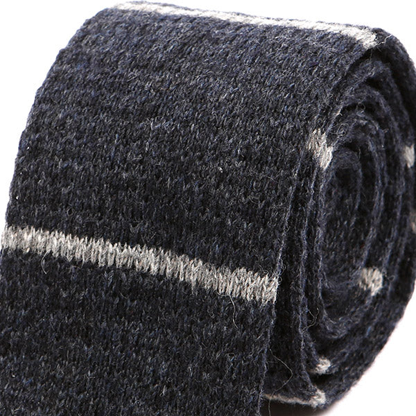Blue And Grey Striped Knitted Wool Tie