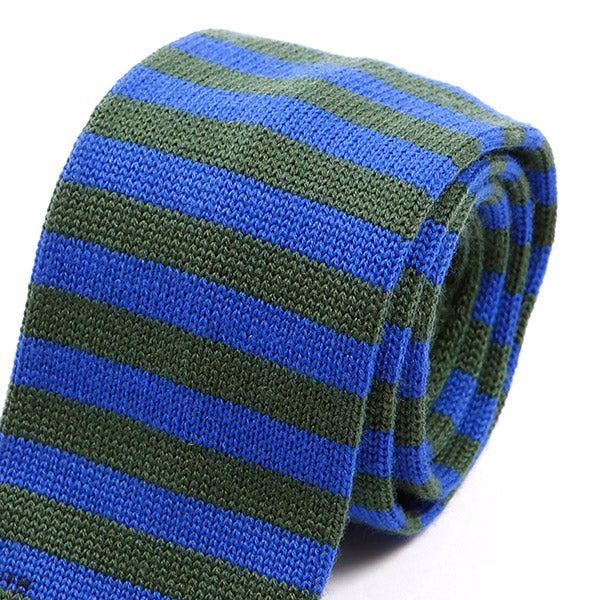 Teal Green Striped Knitted Wool Tie