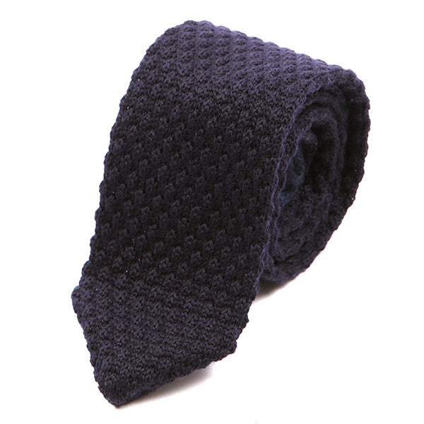 Navy Blue Raised Pointed Knitted Wool Tie