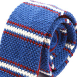 Navy & Red Striped Knitted Wool Tie | One of One