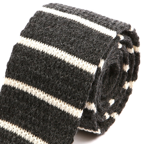 Grey Striped Knitted Wool Tie