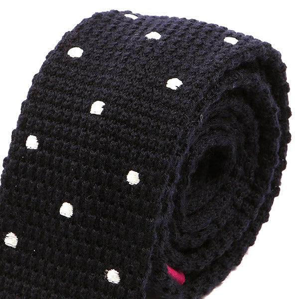Navy Blue Polka Dot Duo Knitted Wool Tie