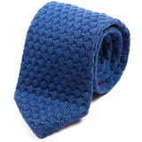 Blue Raised Pointed Knitted Wool Tie | One of One