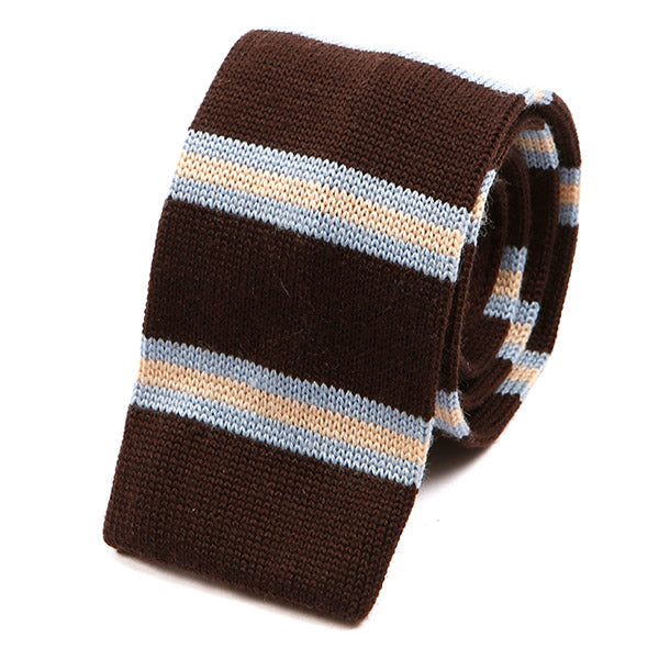 Brown & Blue Striped Knitted Wool Tie