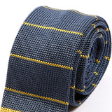 Stone Blue & Yellow Silk Knitted Tie