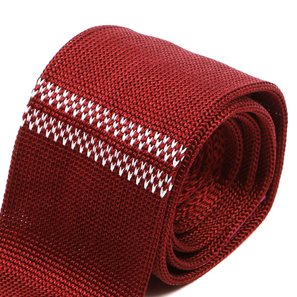 Red Duo Striped Silk Knitted Tie | One of One