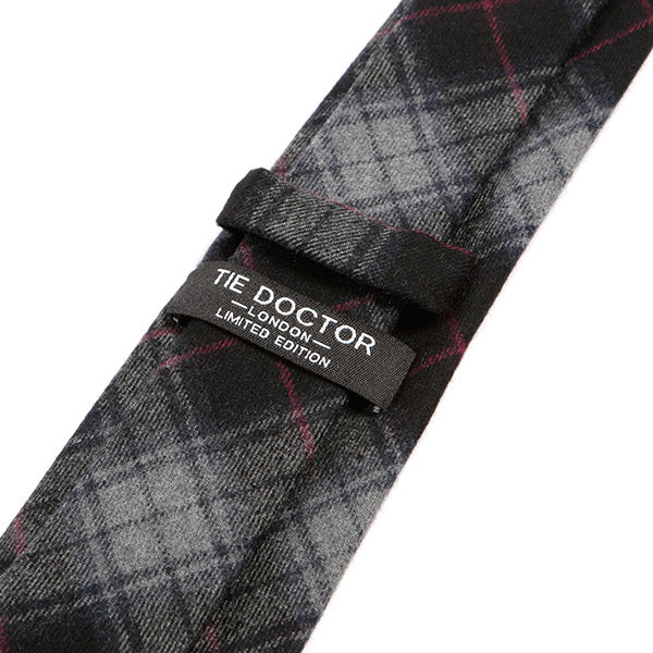 Black And Red Striped Wool Tie