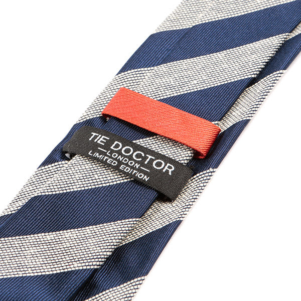 Navy Blue Striped 7.5cm Silk Tie