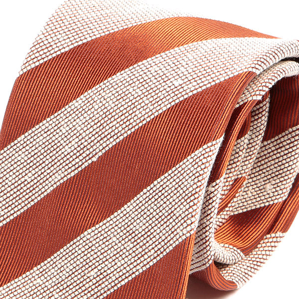 Orange Striped 7.5cm Silk Tie