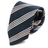 Navy & Pink Striped Silk Necktie