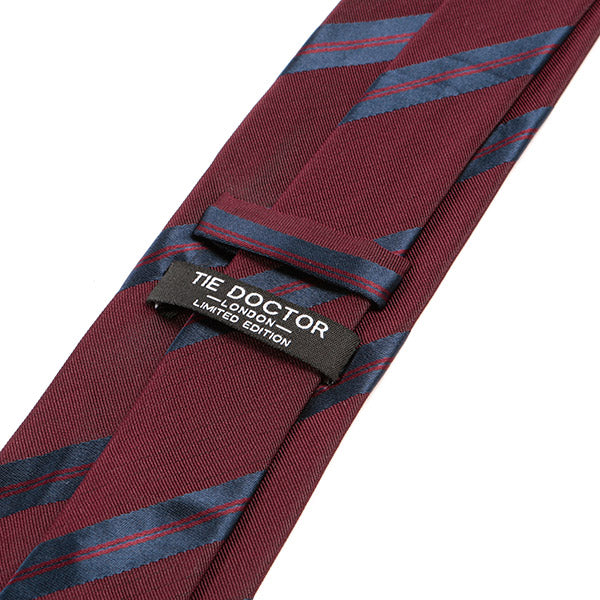Burgundy Red Striped Silk Tie
