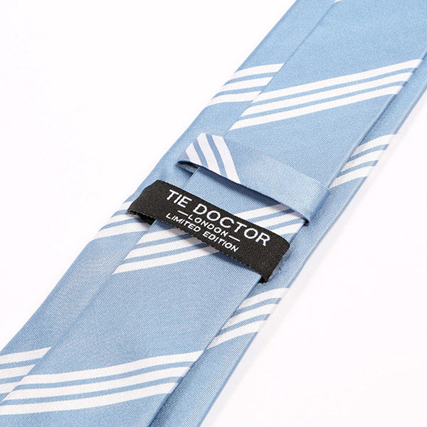 Light Blue Striped Silk Necktie