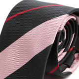 Pink & Navy Striped Silk Necktie